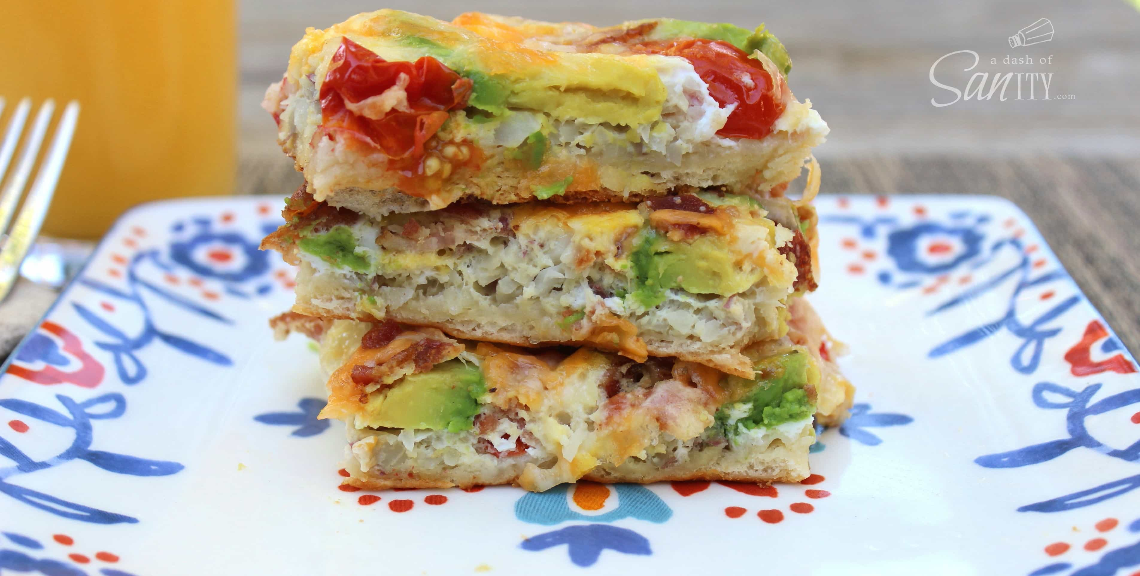 Easy Avocado Breakfast Casserole slices in a stack on a plate