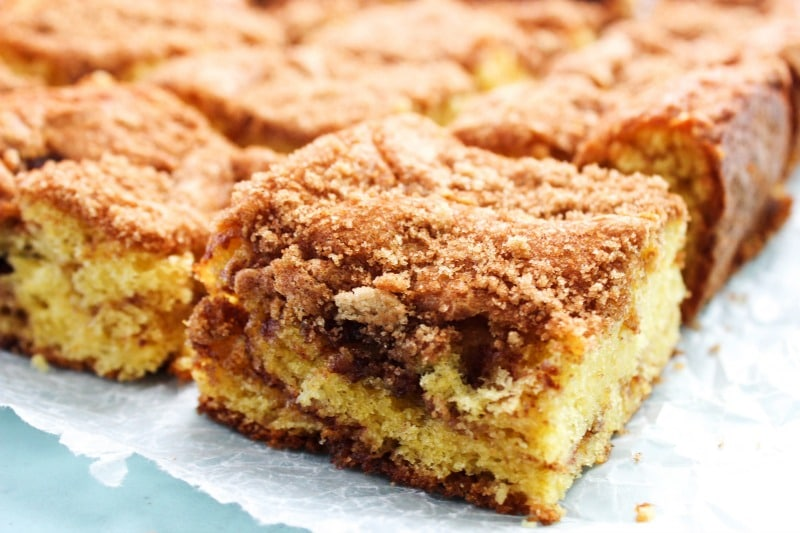 sliced coffee cake squares on wax paper