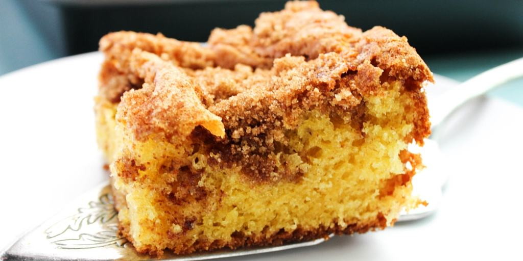 Best Ever Coffee Cake square on pie spatula