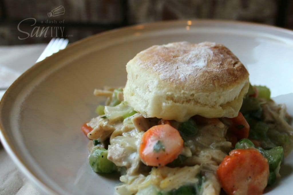 Chicken & Biscuits Pot Pie, chicken pot pie in a bowl served with a biscuit on top