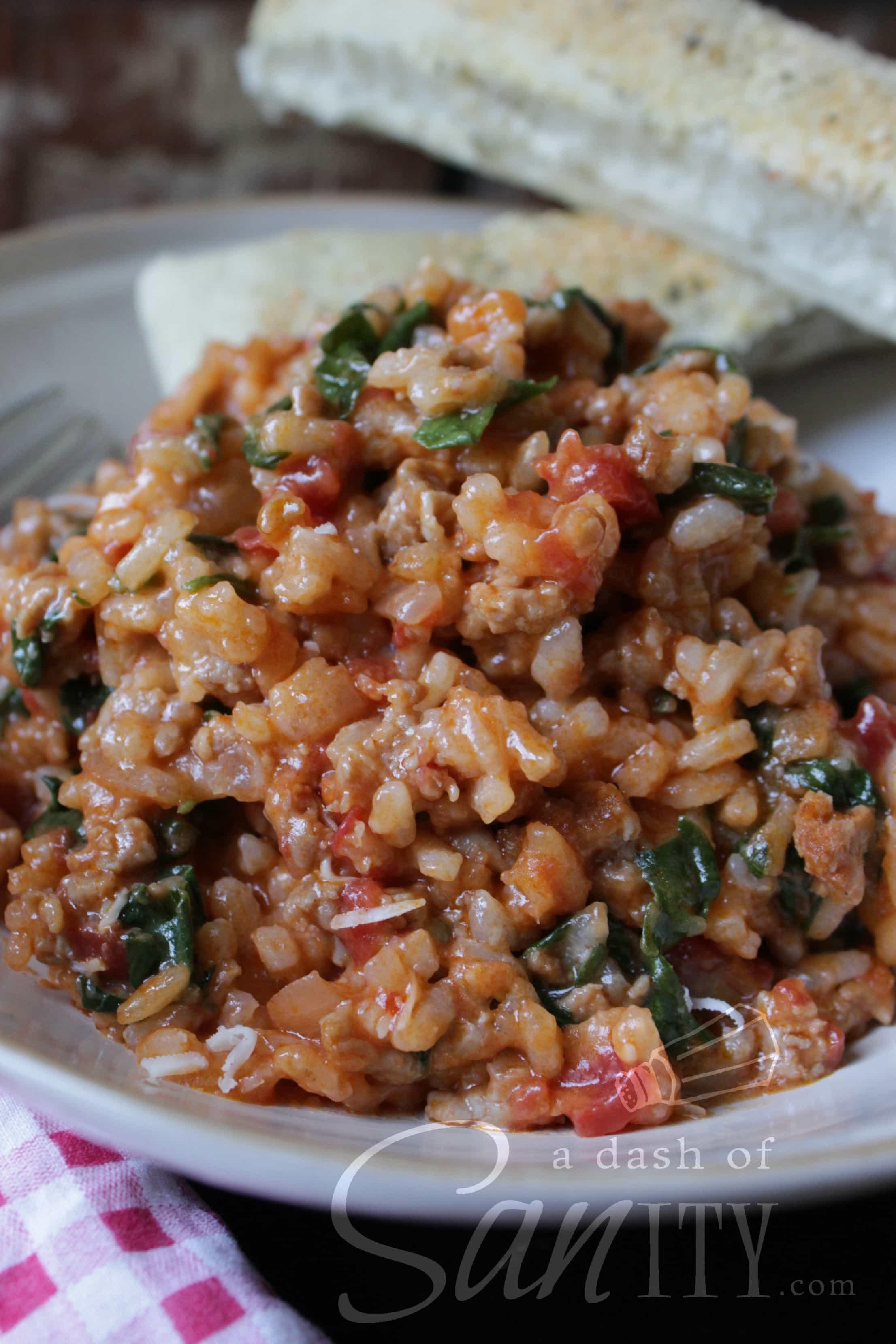 Tomato Sausage Risotto - A Dash of Sanity