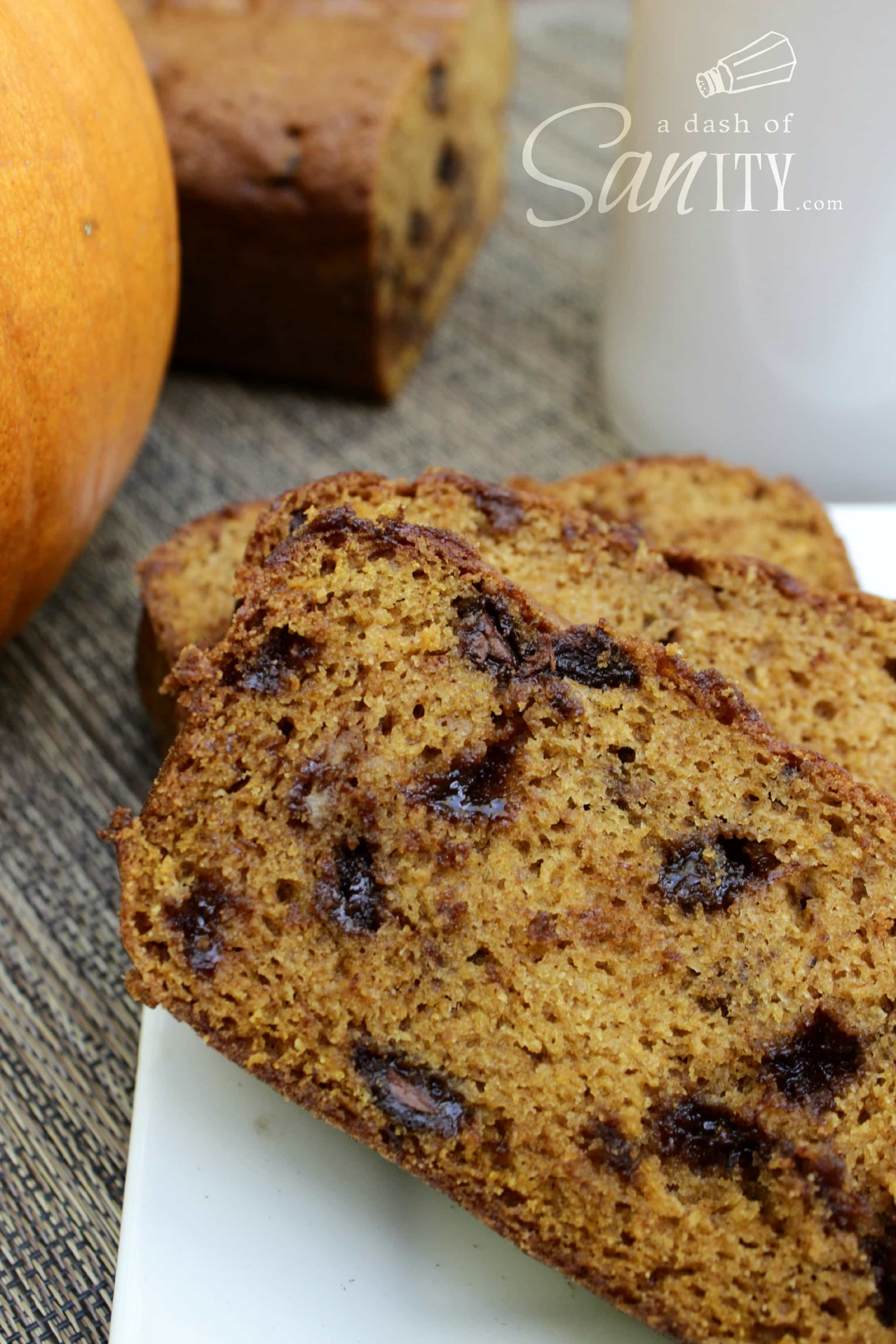 Downeast Chocolate Chip Pumpkin Bread slices on a plate