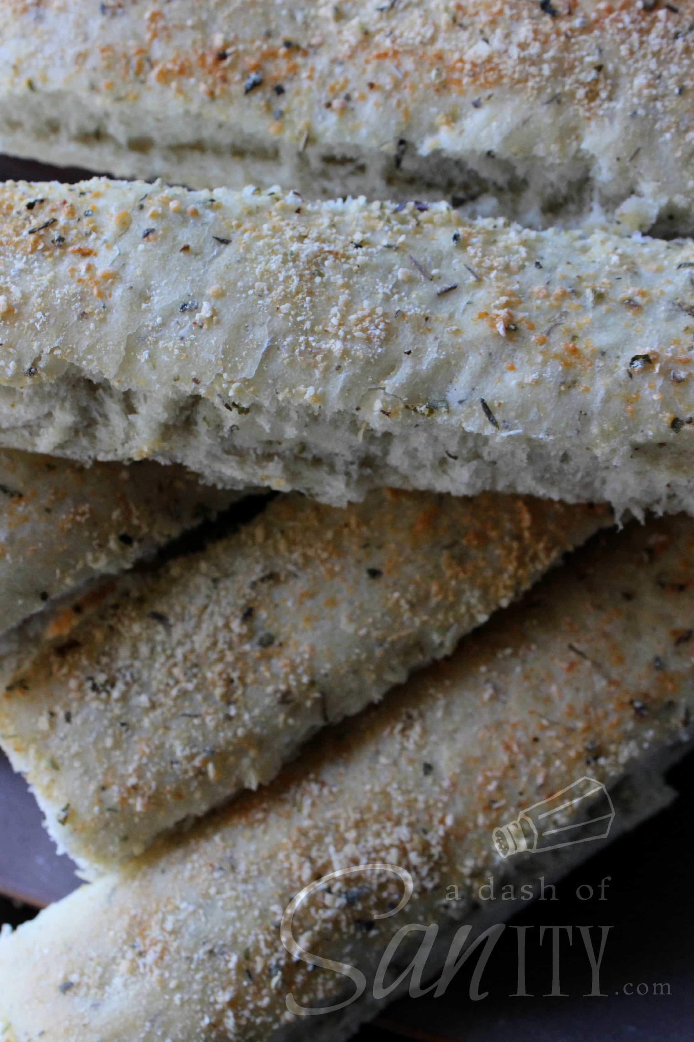 Artisan Breadsticks in a stack close up