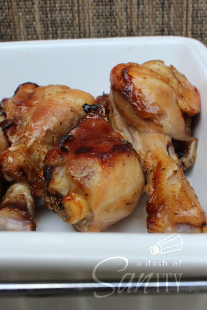 3 Honey Soy Baked Chicken Drumsticks in a white dish