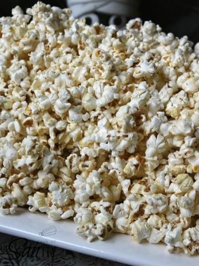 kettle corn on a white plate