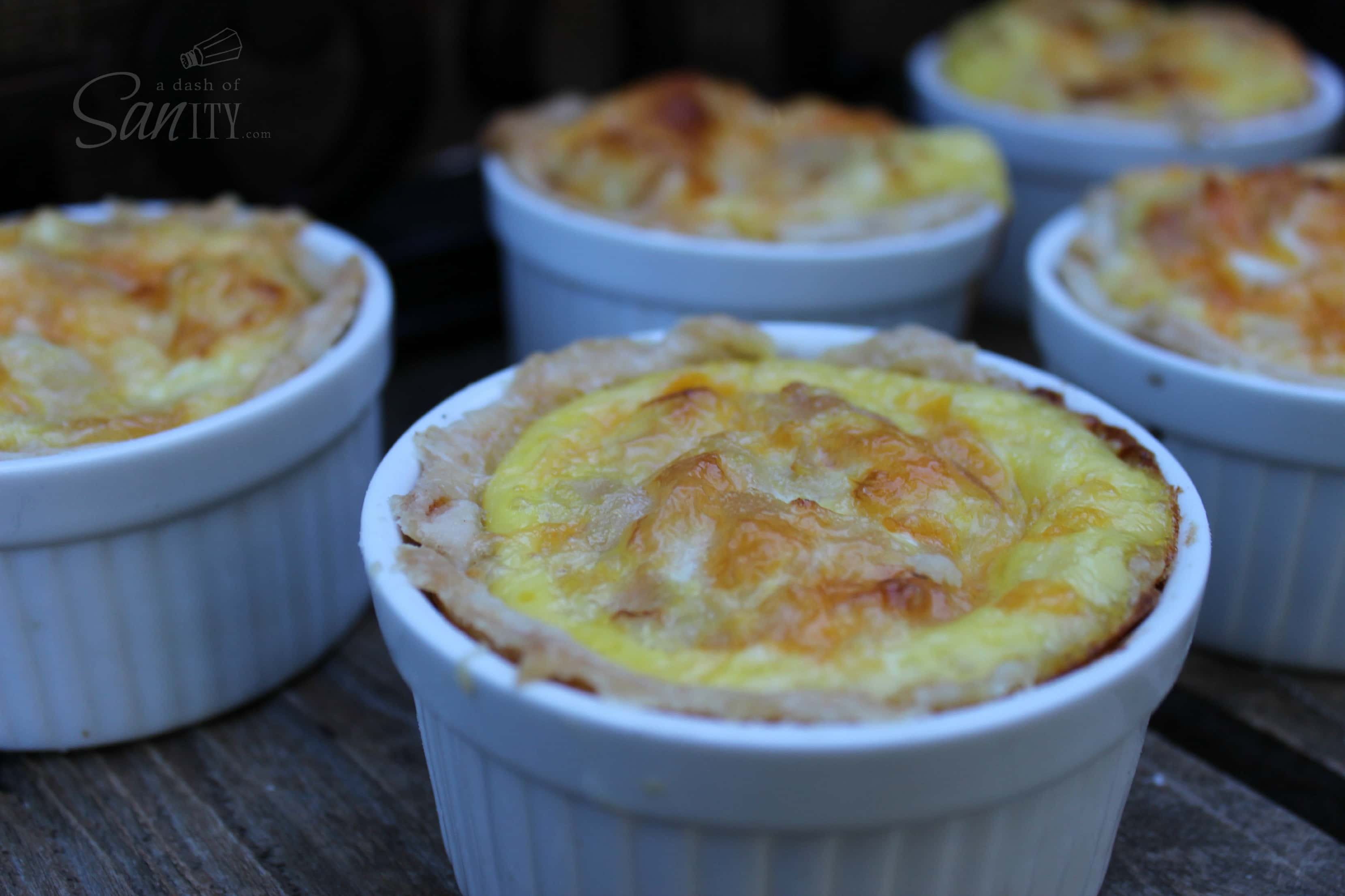 Easy Mini Breakfast Quiche in small quiche ceramic bowls