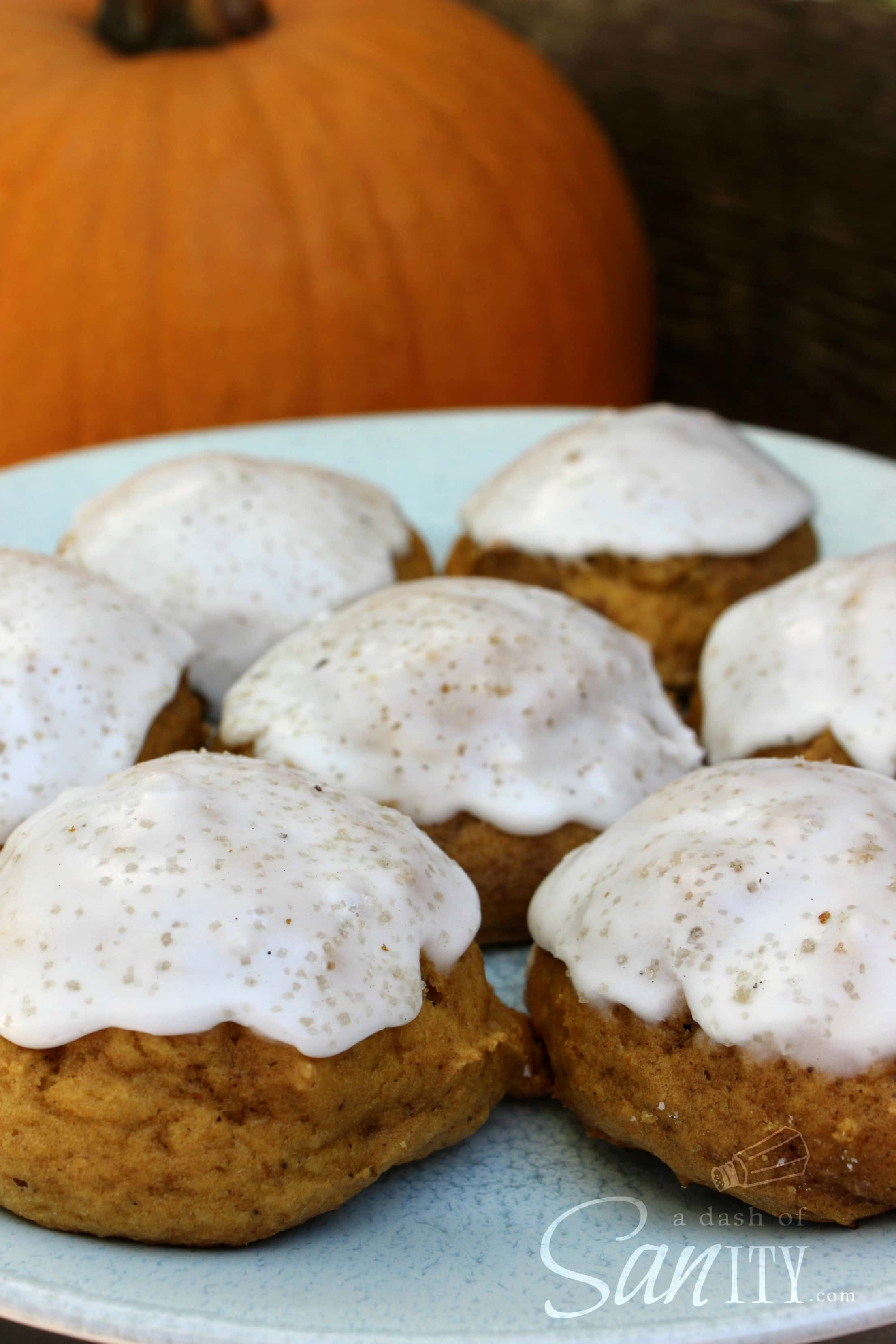 Iced Pumpkin Cookies - A Dash of Sanity