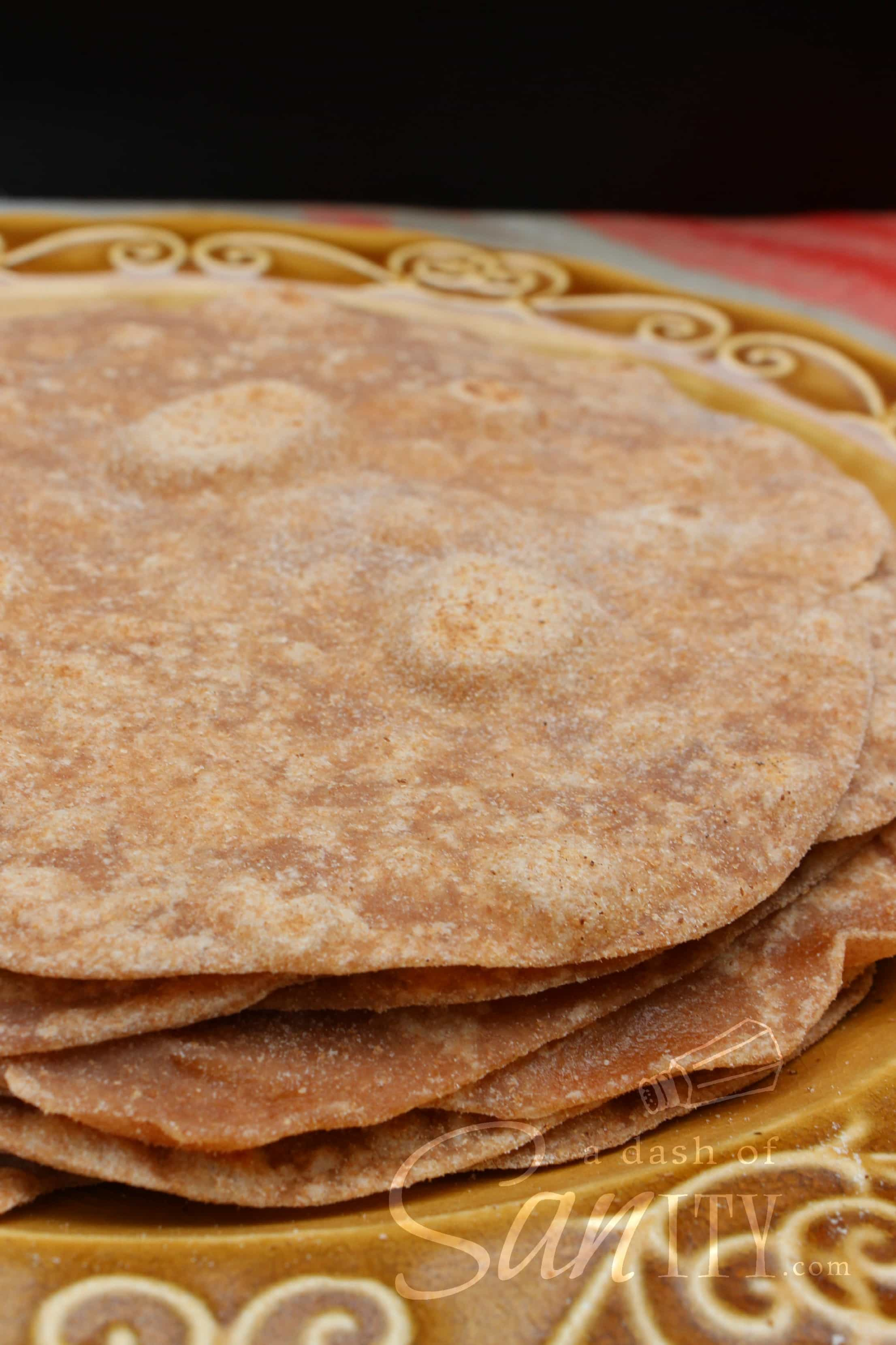 Whole Wheat Tortillas in a stack on a plate