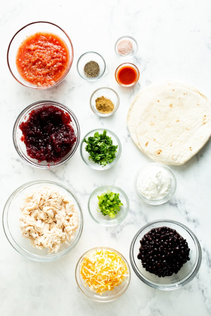 Ingredients measured out in bowls
