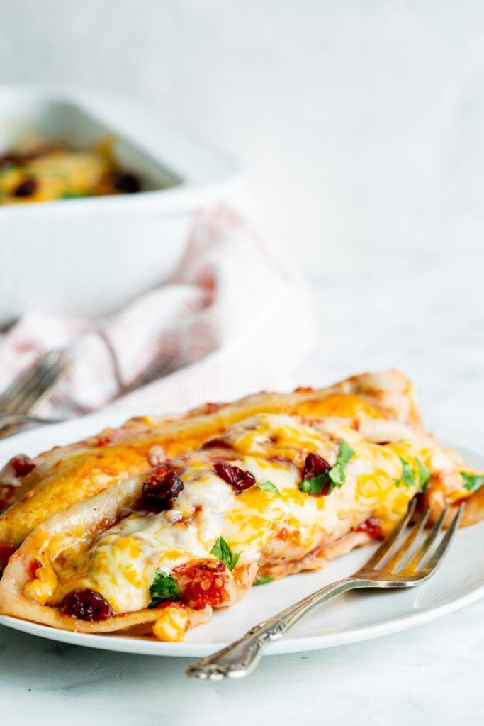 Enchiladas served on a plate