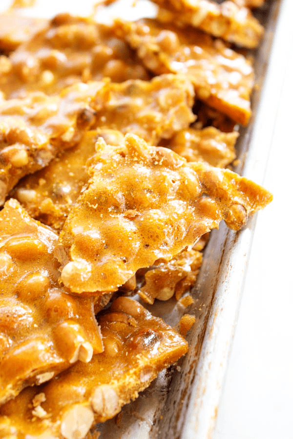 Grandma's Peanut Brittle - sweet and salty candy with peanuts