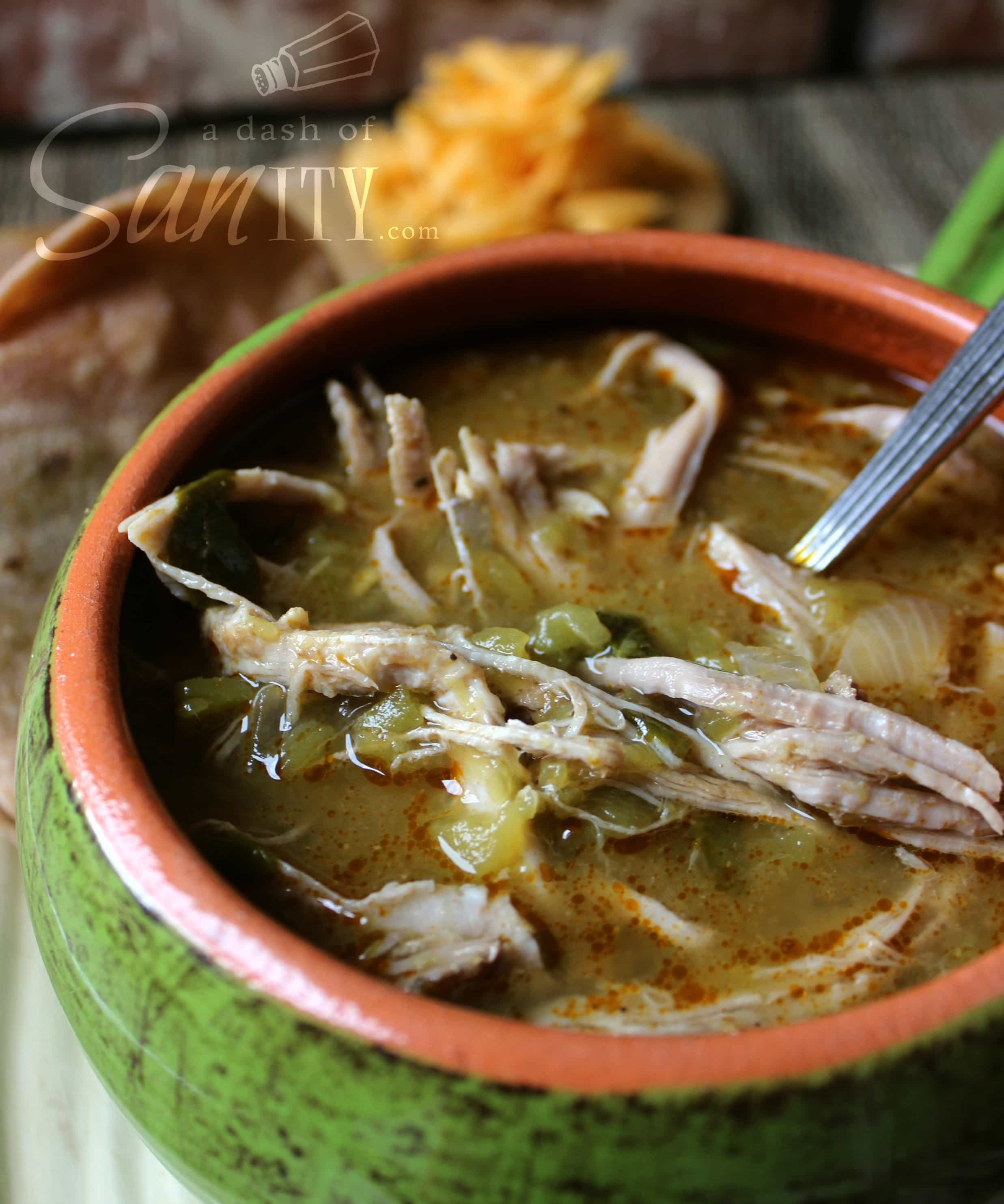 Slow Cooker Chile Verde served in a bowl with a spoon