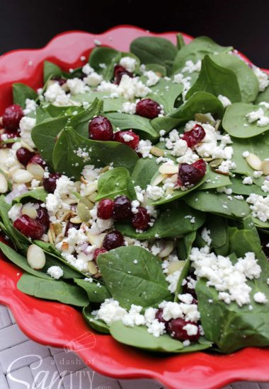 Candied Cranberry Spinach and Feta Salad