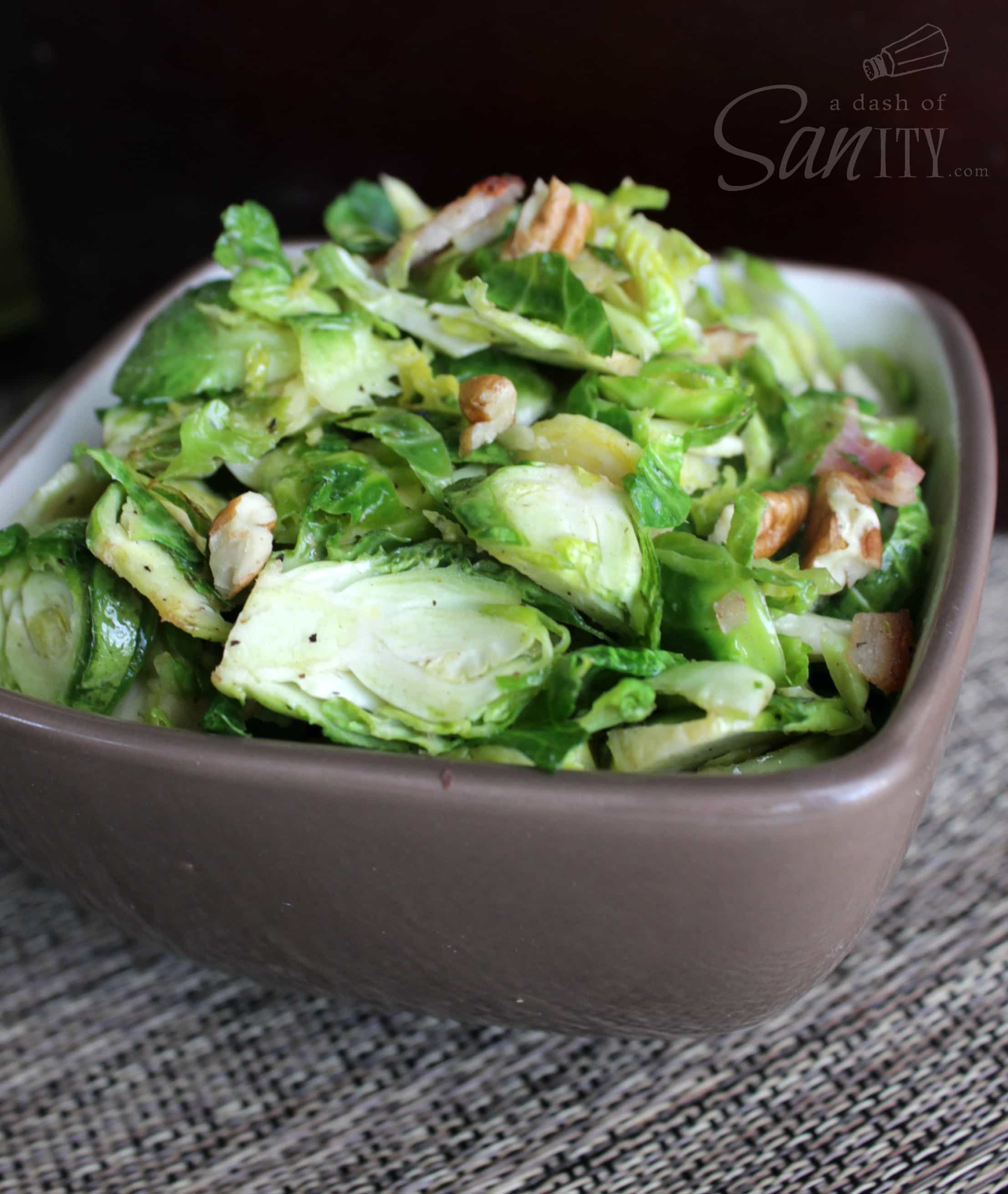 Bacon and Walnut Brussel Sprouts salad served in a bowl