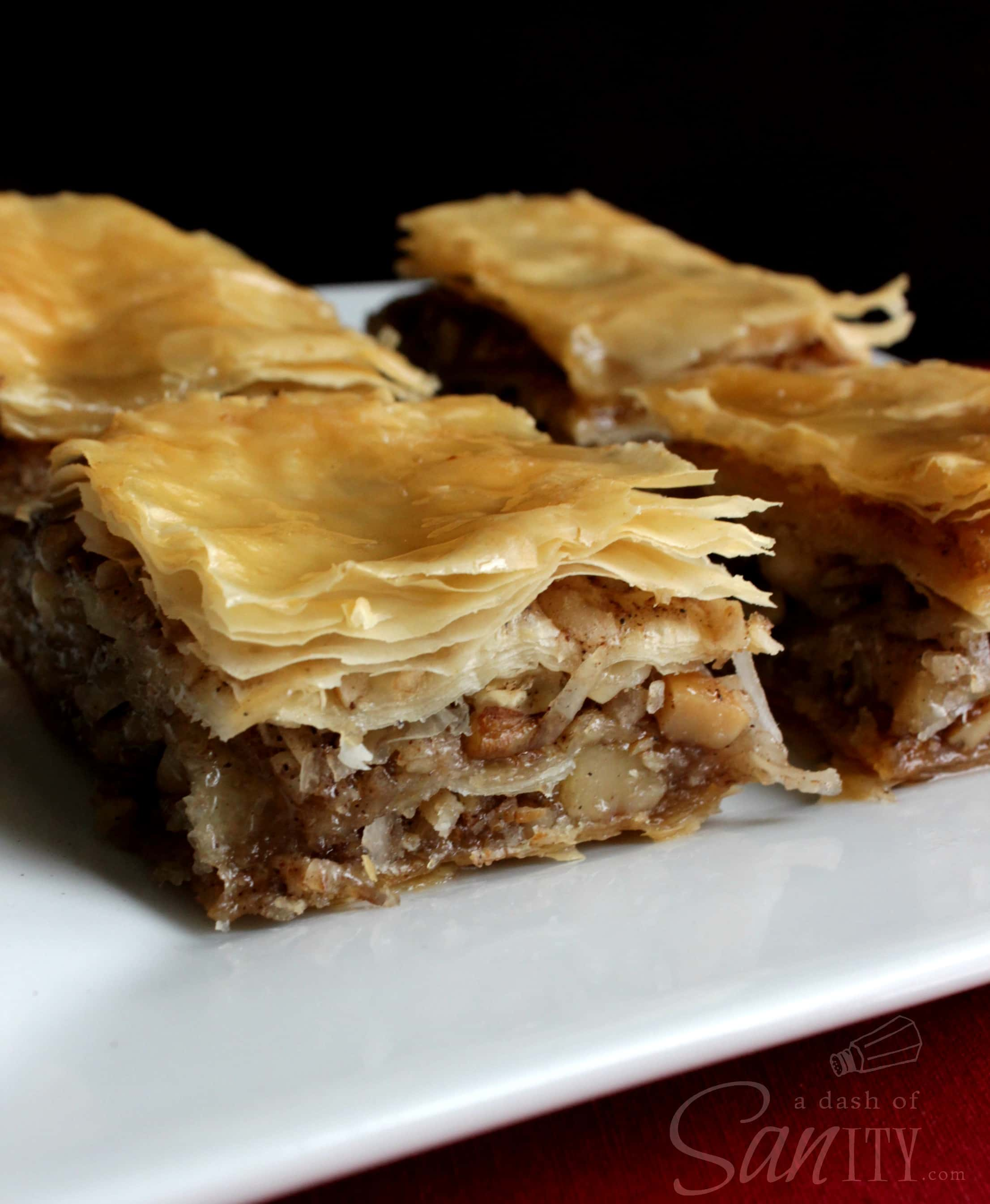 Nutty Baklava squares served on a plate