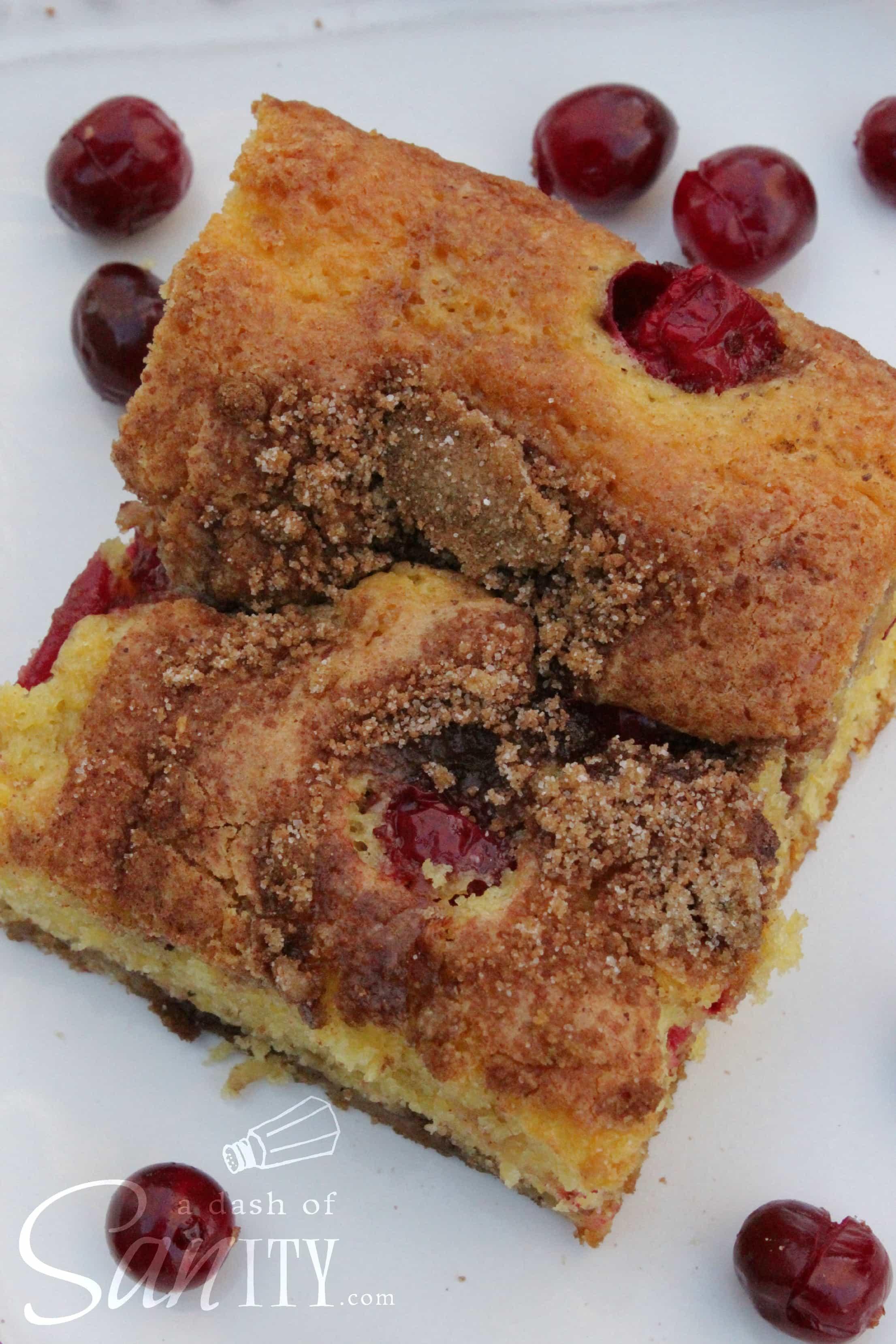 Cranberry-Orange Coffee Cake slice overhead photo