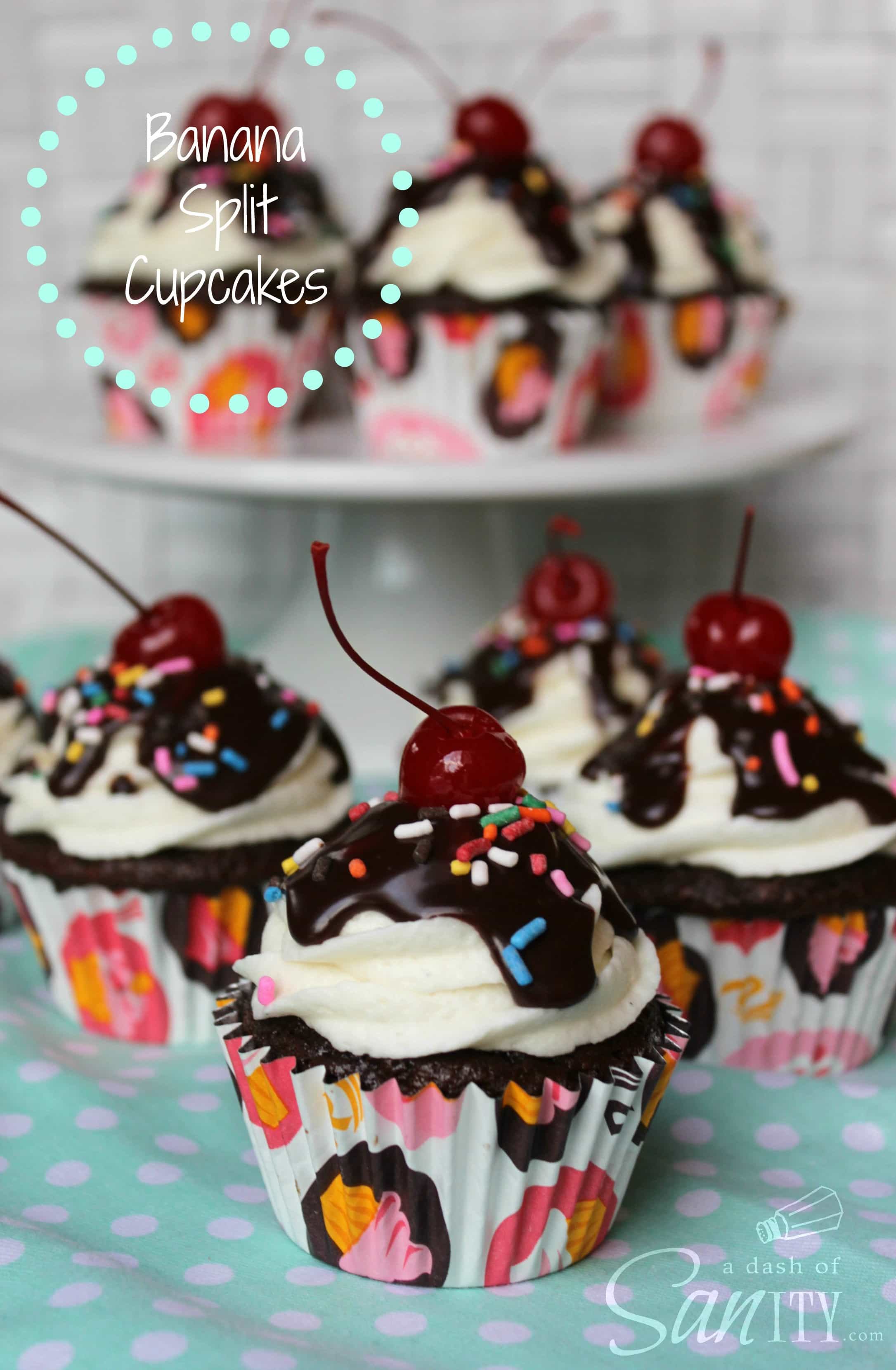 Banana Split Cupcakes on a cake stand and up close, cupcakes topped with hot fudge, sprinkles, and a cherry