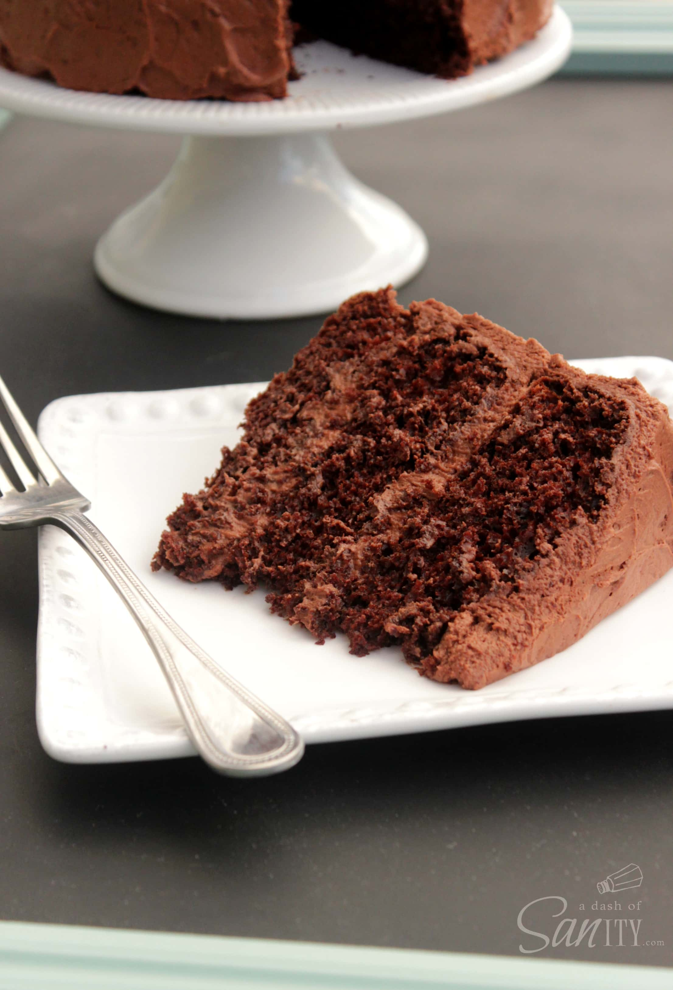 Best Ever Chocolate Layer Cake is a rich, moist, triple layered chocolate cake with a rich and creamy chocolate buttercream frosting.