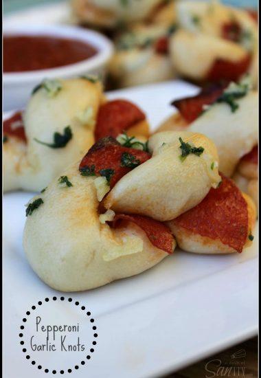 Pepperoni Garlic Knots with Homemade Marinara