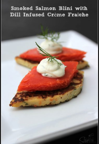 Homemade Blinis with Smoked Sockeye Salmon and Dill Infused Crème Fraîche