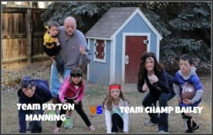"picture of sandra's family with text ""team peyton manning"" and ""team champ bailey"""
