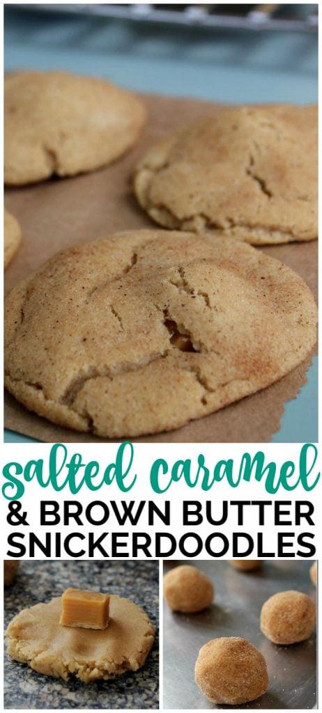 Salted Caramel & Brown Butter Snickerdoodles pinterest image