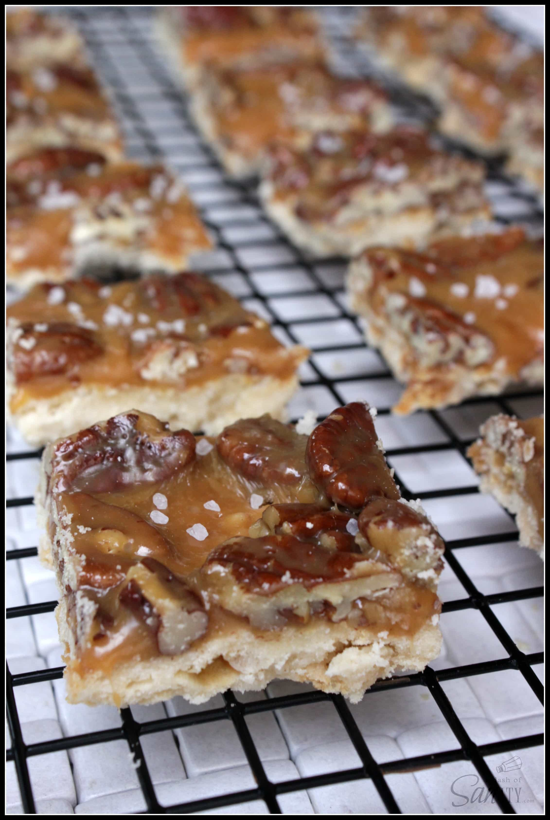Caramel Pecan Shortbread Bars - A Dash of Sanity