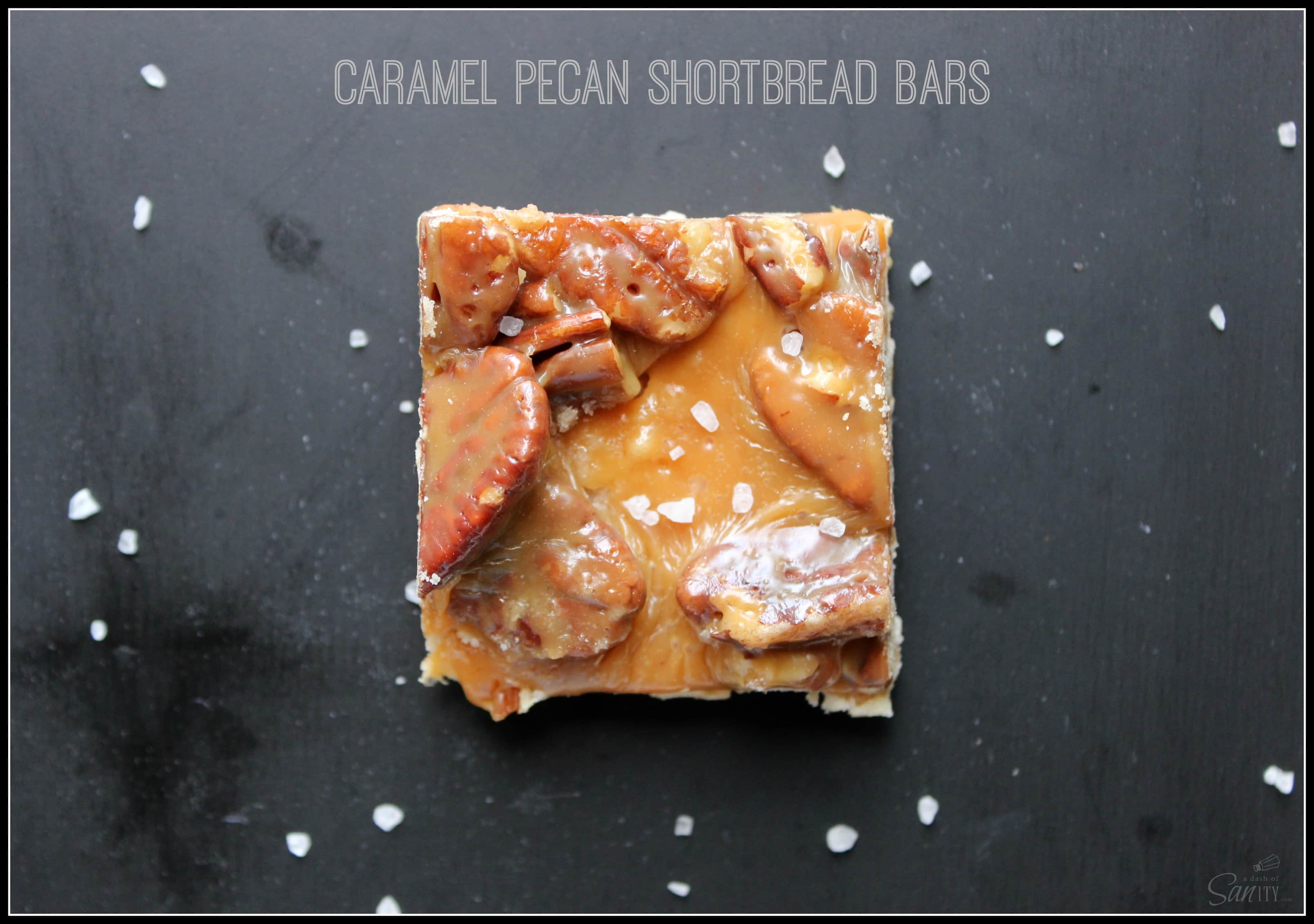 ... caramel, pecans and shortbread underneath it is a candy bar in the