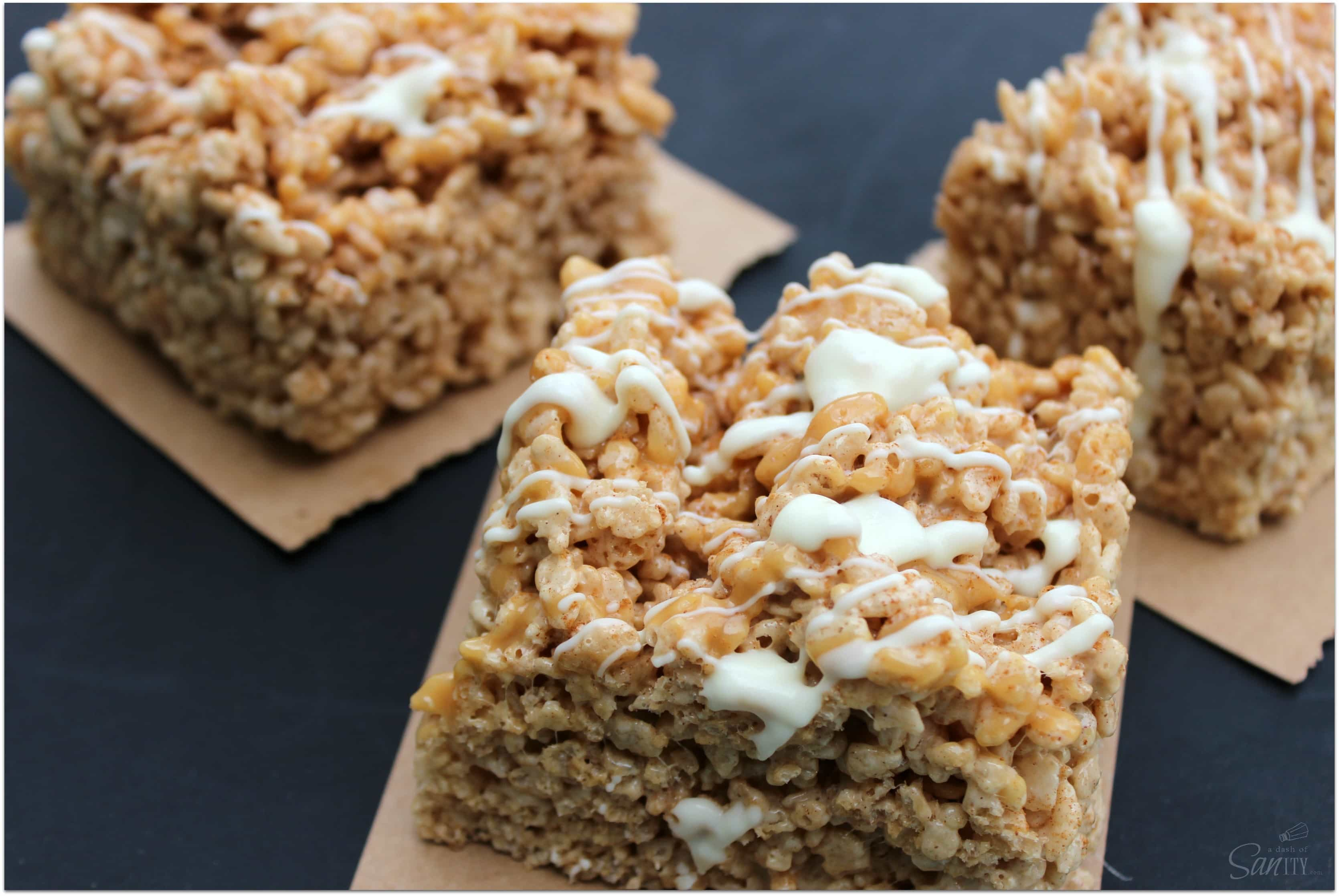 Cinnamon Dolce Rice Krispies Treats are made with gooey, creamy dulce de leche and caramel, making this a decadent Rice Krispies treat.