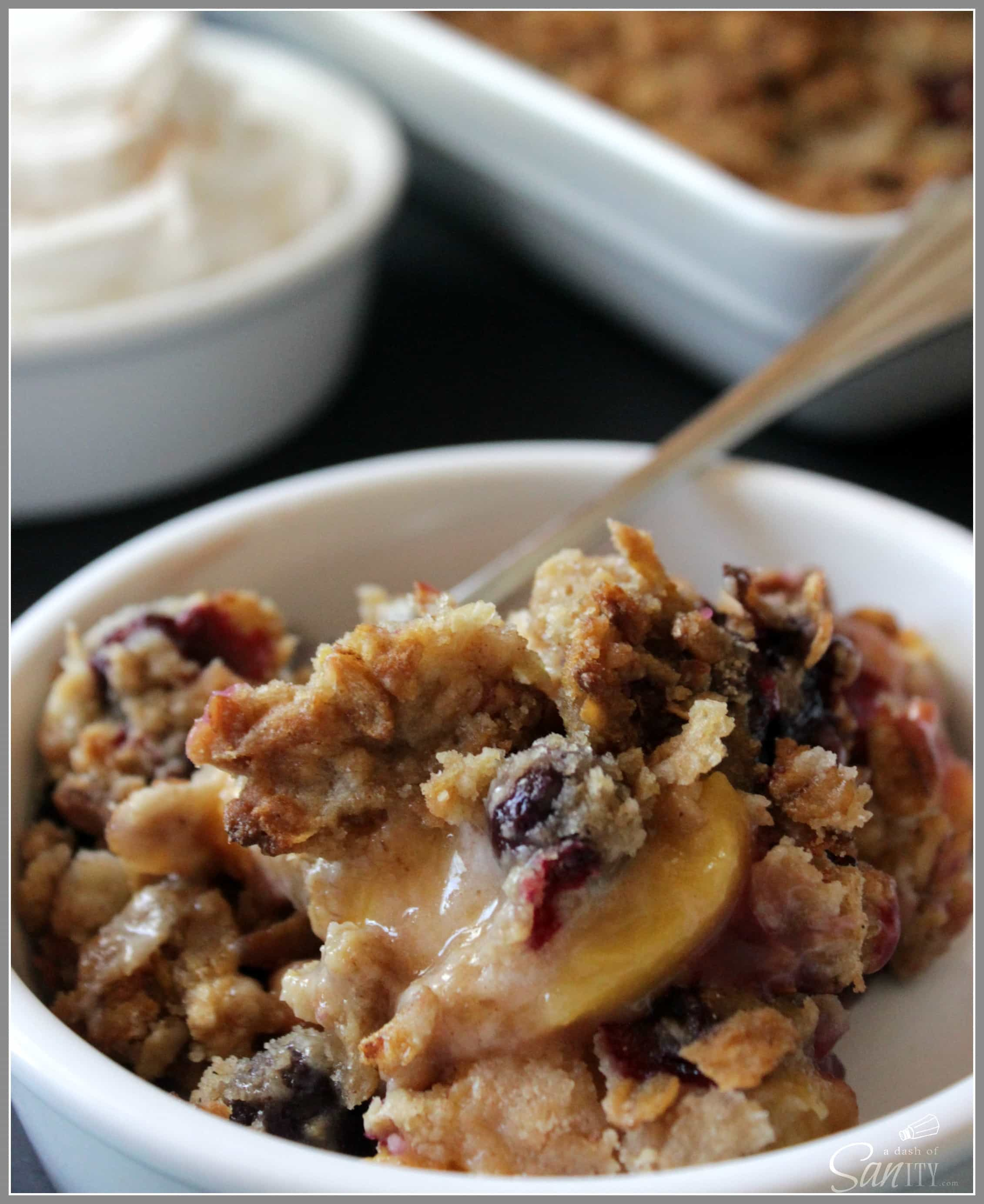 This Peach and Blueberry Cobbler with Crumb Topping can start your day off on a sweet note or end it in decadent warmth a la mode.