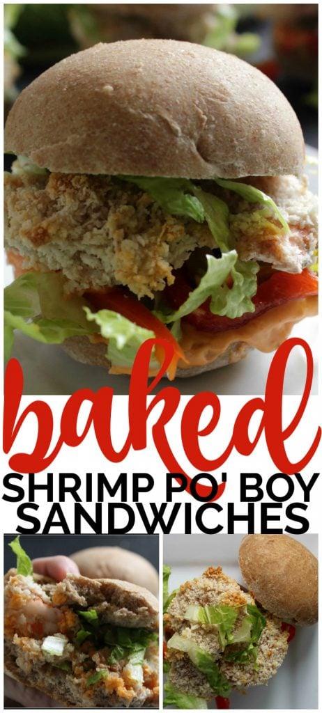 Baked Shrimp Po' Boy Sandwiches with Spicy Mayo pinterest image