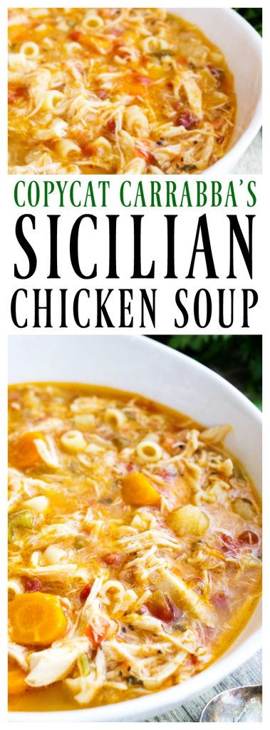 collage: with 2 photos of soup in a white bowl, with title Copycat Carrabba's Sicilian Chicken Soup
