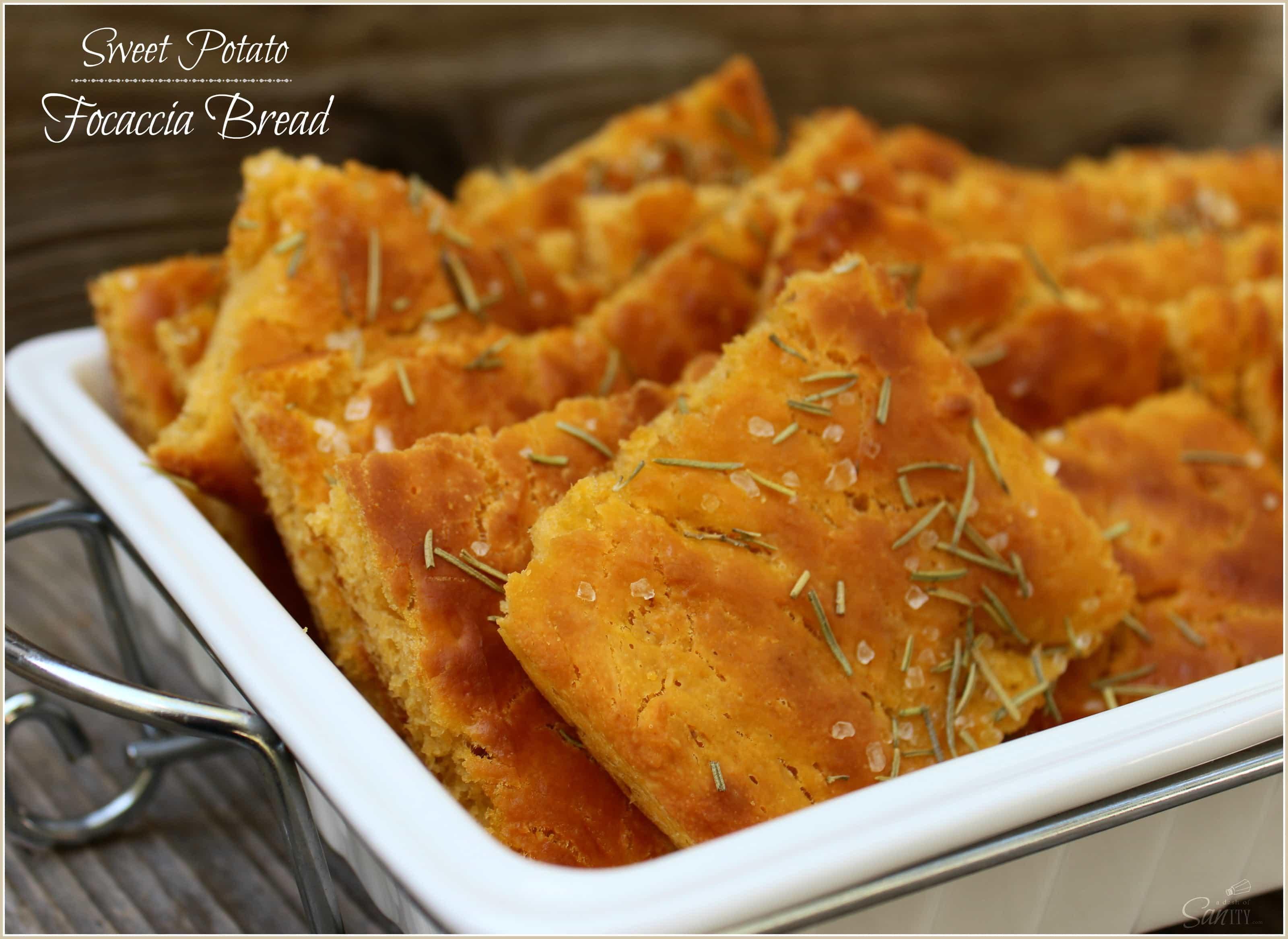 Sweet Potato Focaccia Bread squares in a white dish