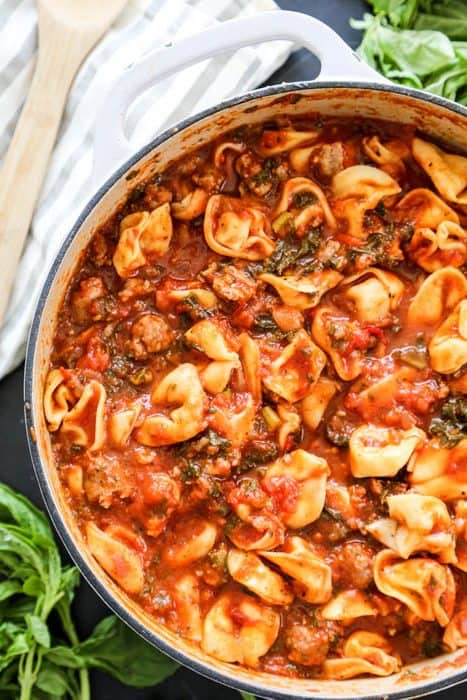 pot of Tuscan Tortellini Soup