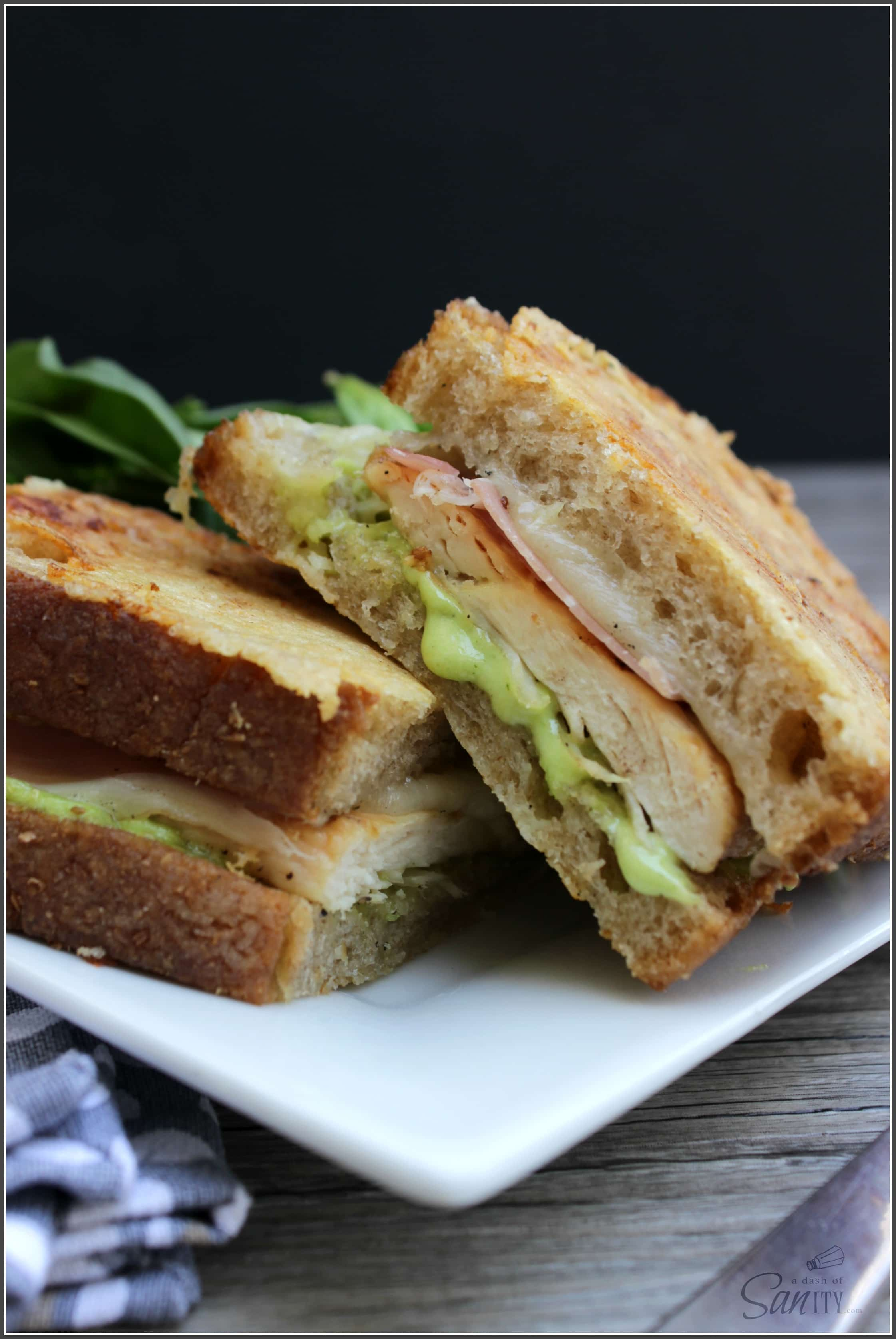 Grilled Chicken Carbonara Sandwich - delicious layers of flavors with homemade garlic aioli, pancetta, grilled chicken, and parmesan-crusted bread!