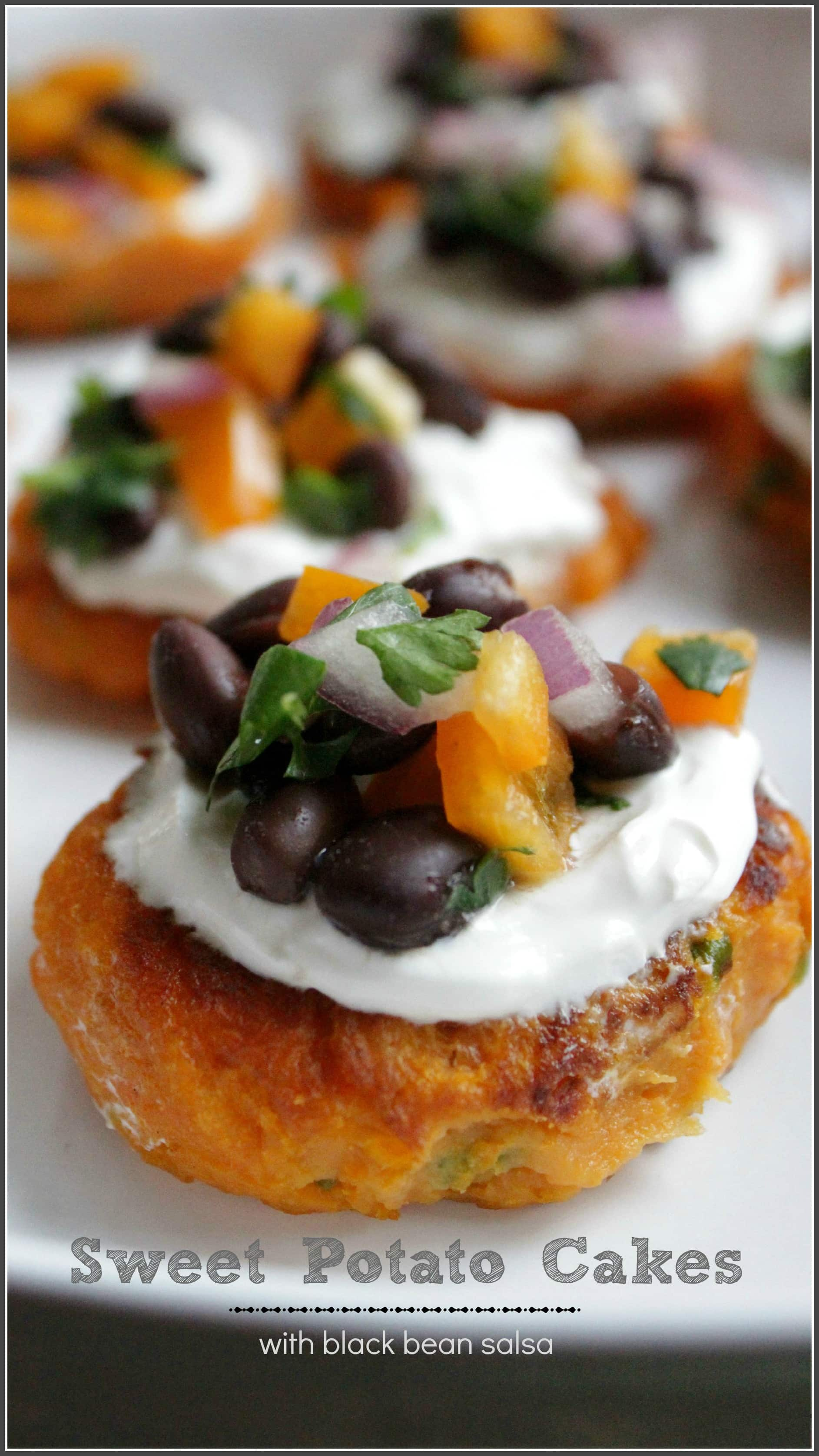 Sweet Potato Cakes topped with sour cream and black bean salsa