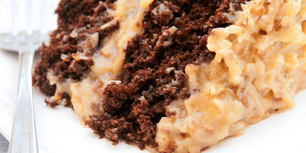 ... double layer chocolate cake with a classic german chocolate cake
