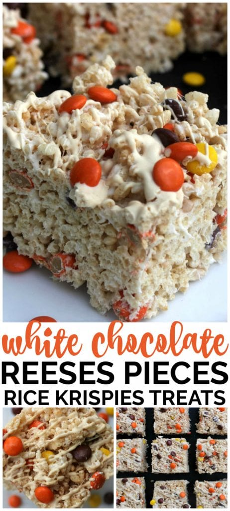 White Chocolate & Reese's Pieces Rice Krispie Treats pinterest image