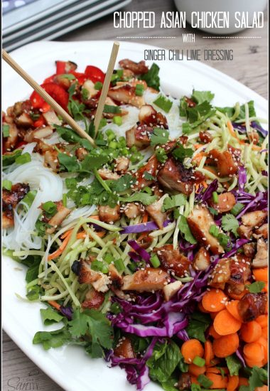 Chopped Asian Chicken Salad with Ginger Chili Lime Dressing