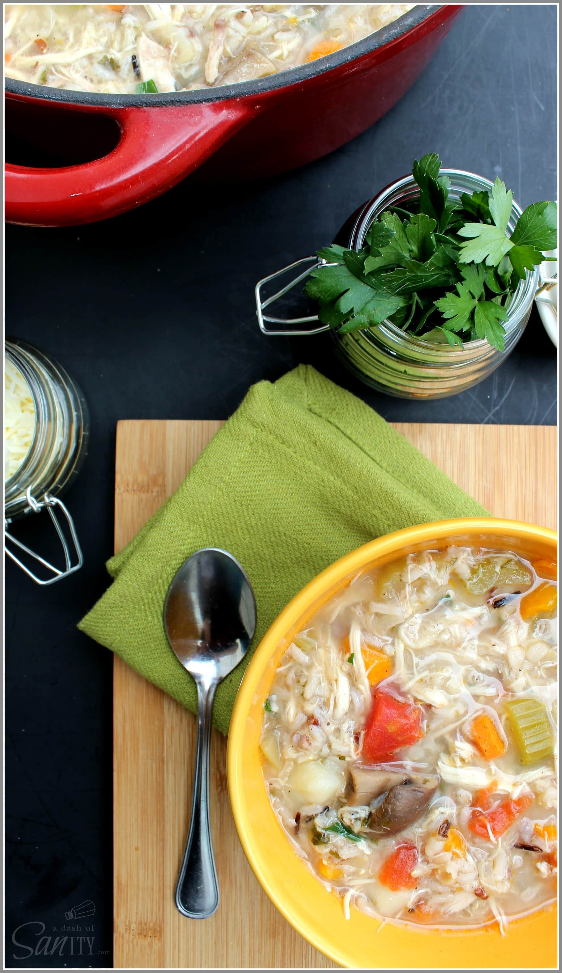 Healthy Wild Rice and Chicken Soup is a delicious hearty soup with a peppery broth, wild rice, fresh vegetables, and tender chicken and potatoes.