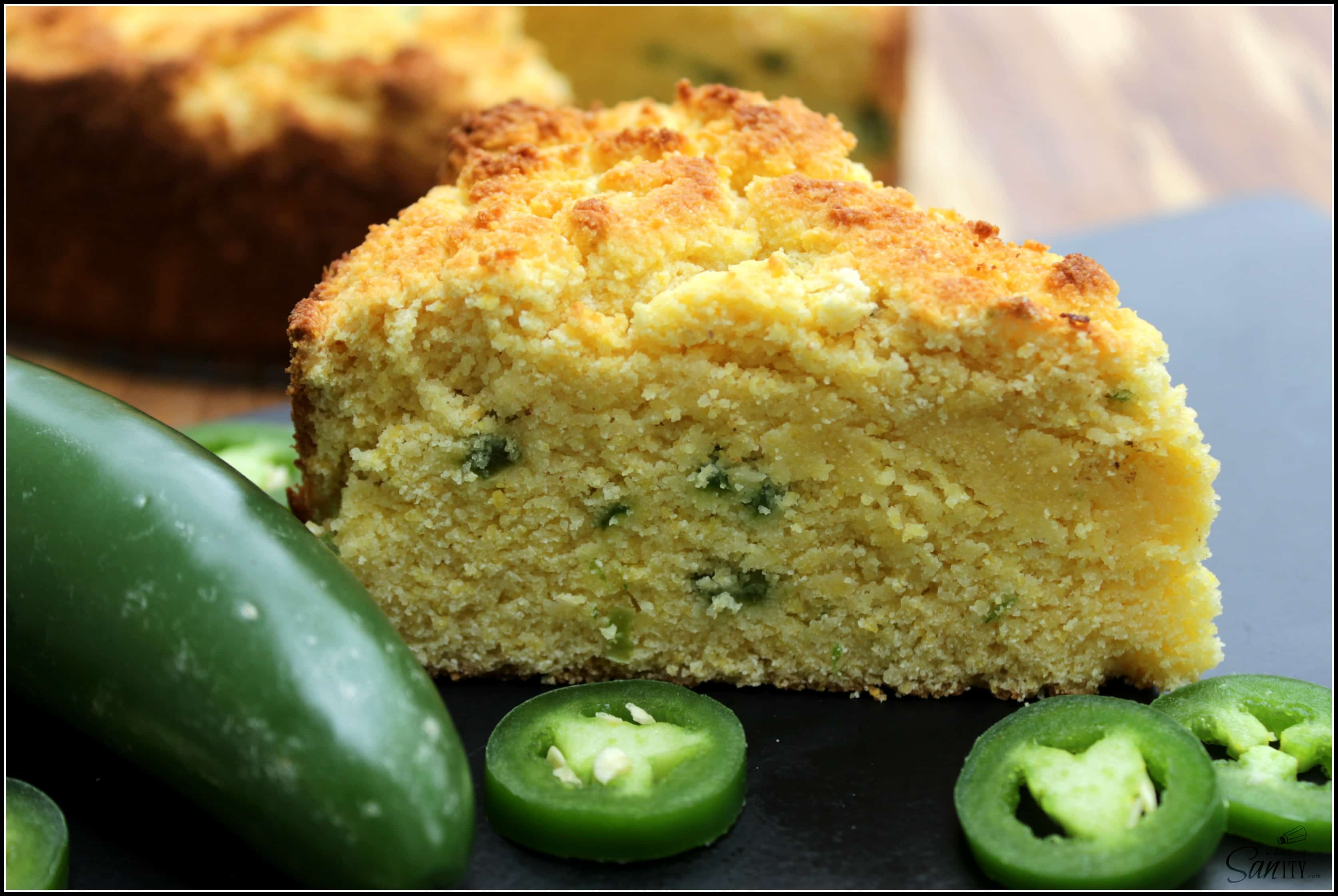 Gluten-Free Sweet Jalapeño Cornbread made with coconut flour and fresh jalapeno is a sweet bread with a hint of spice that everyone will enjoy.