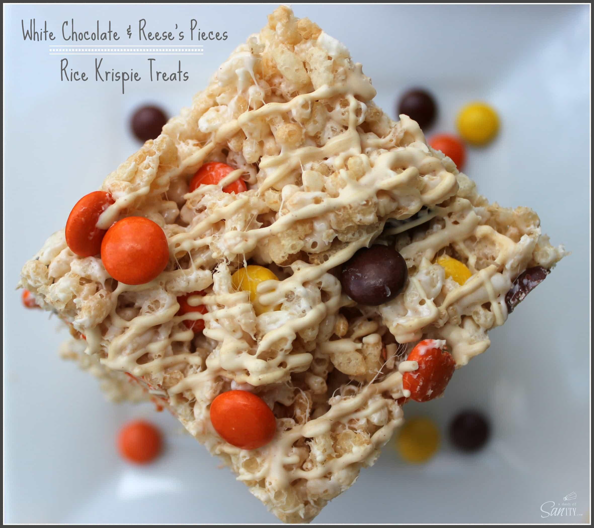 White Chocolate Reese's Pieces Rice Krispie Treats
