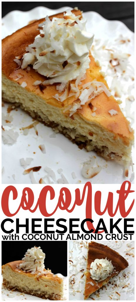 Coconut Cheesecake with Coconut Almond Crust pinterest image