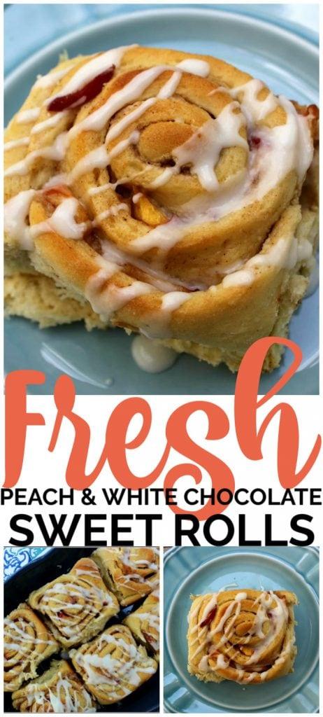 Fresh Peach & White Chocolate Sweet Rolls pinterest image (1)