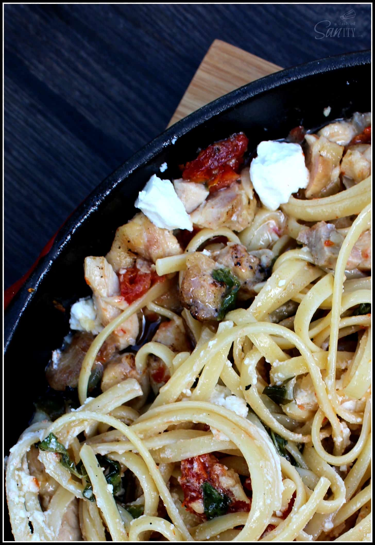 Chicken Bryan Pasta Skillet is made with lemon butter sauce, chicken, sun-dried tomatoes, & goat cheese medallions. Easy to prepare in under 40 minutes.