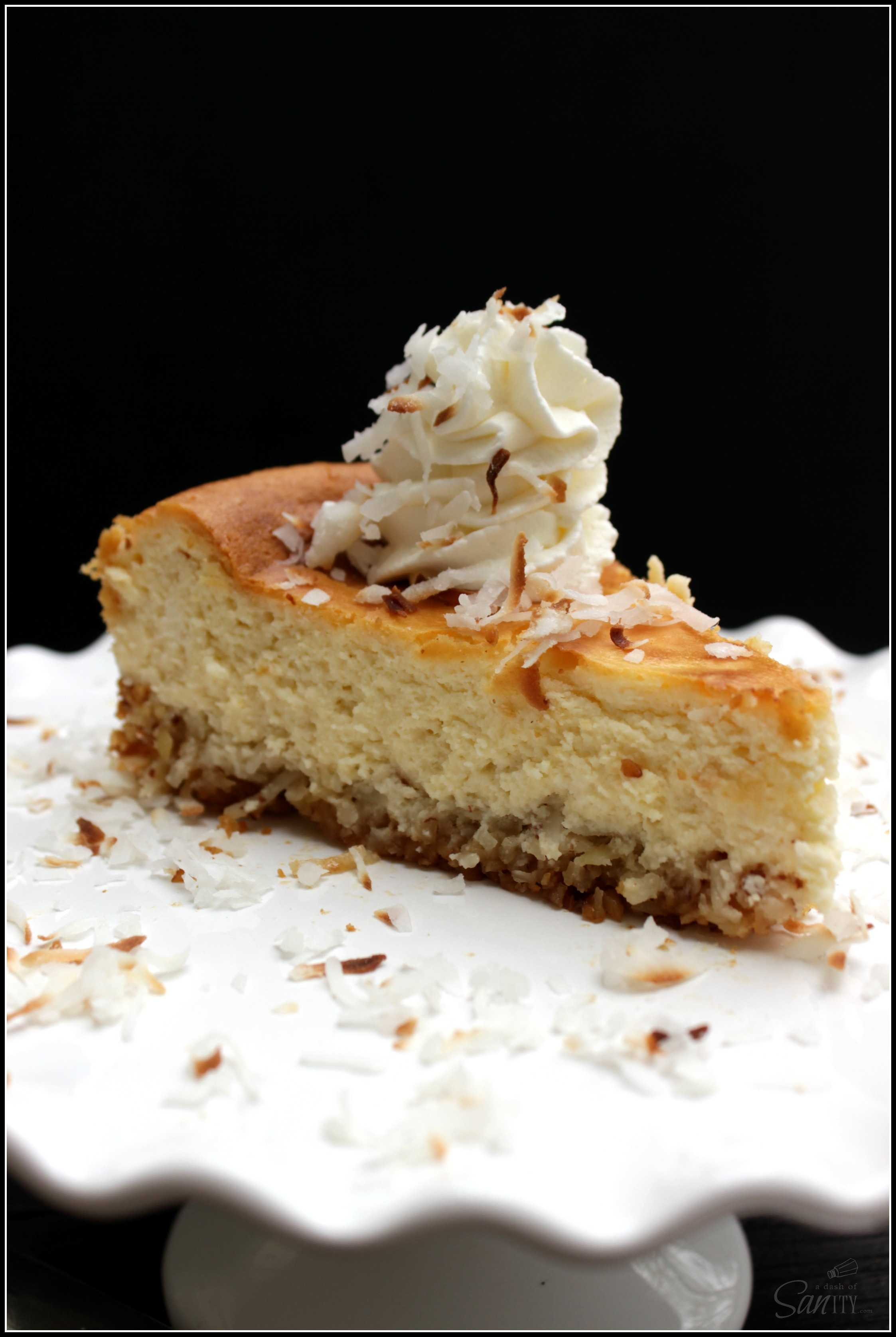 Coconut Cheesecake with Coconut Almond Crust is a creamy gluten free dessert. This unique crust offers a touch of sweetness with the coconut and almonds.