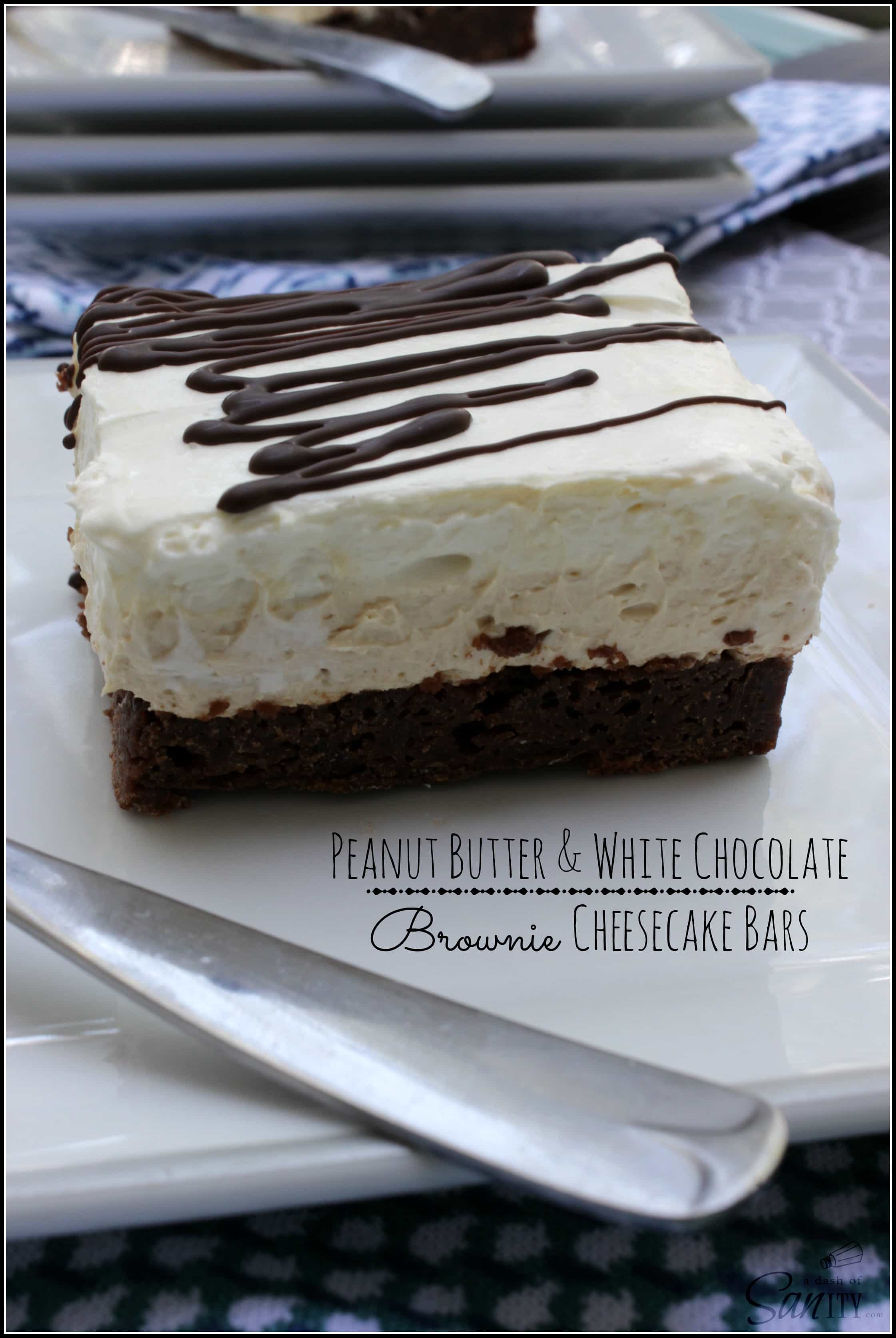 Peanut Butter & White Chocolate Brownie Cheesecake Bars