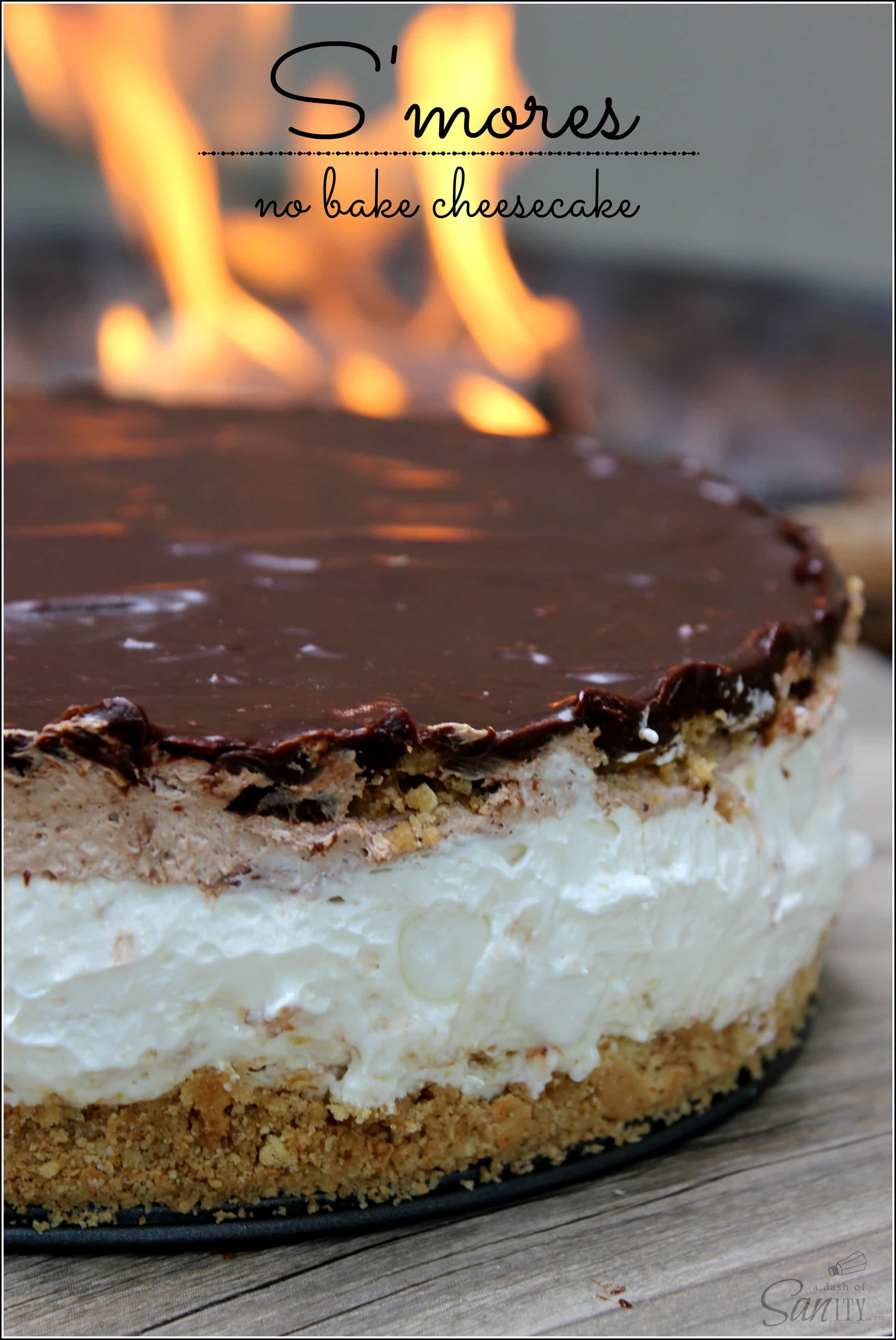 This S'mores No Bake Cheesecake layers of marshmallow, chocolate and ...