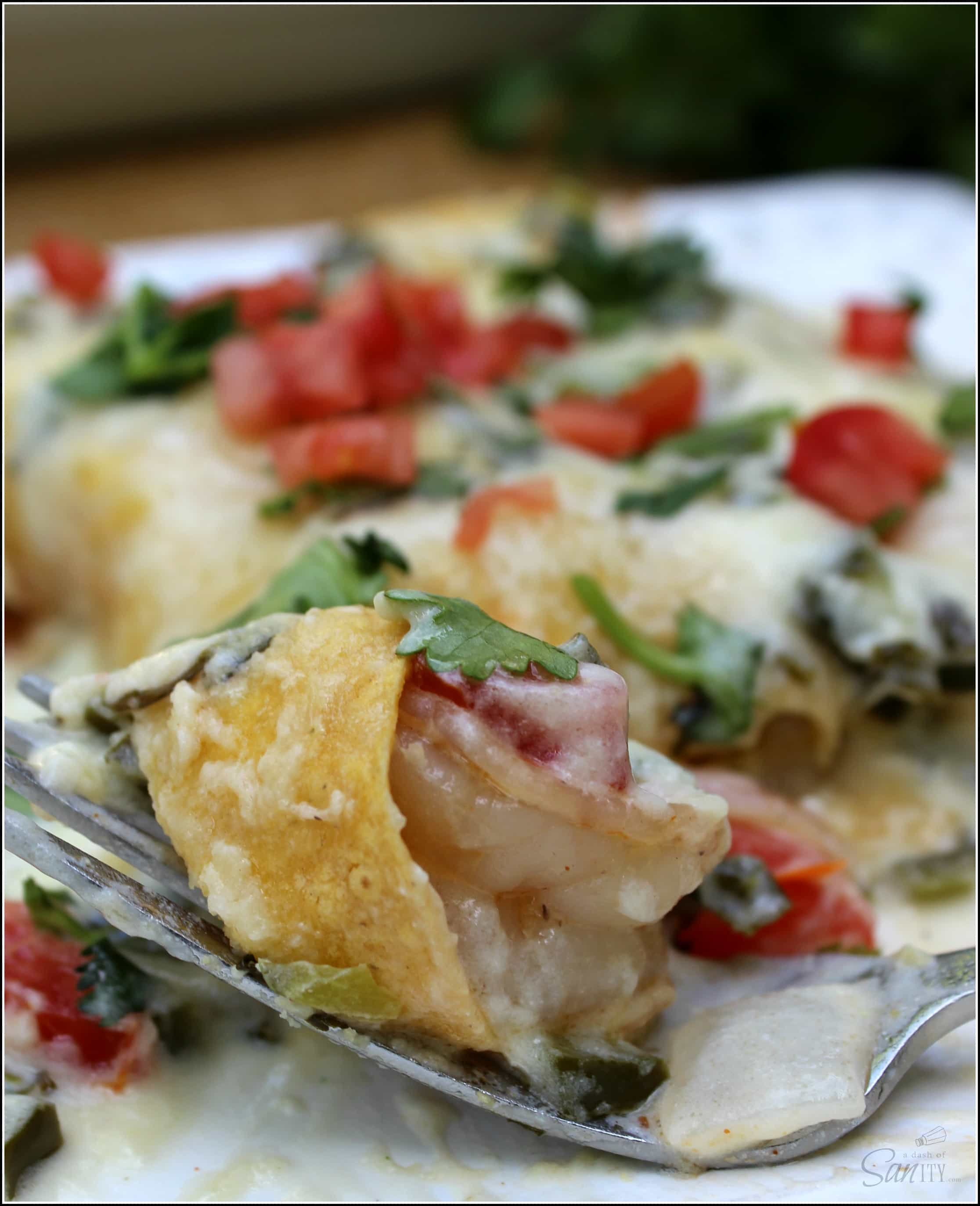 Try these Shrimp Enchiladas with Poblano Cream Sauce. They are a light & refreshing twist on classic enchiladas smothered in a creamy homemade sauce.