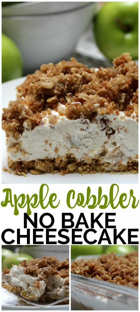 Apple Cobbler No Bake Cheesecake pinterest image